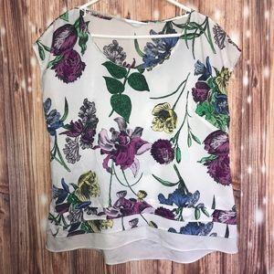NY&Co White Floral Blouse